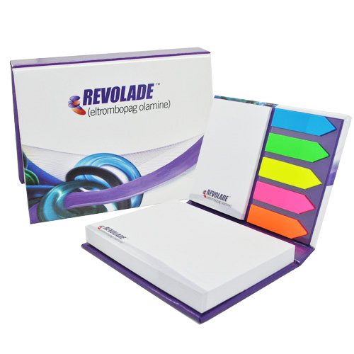 Hardcover sticky note set series with colour tabs and memo pads