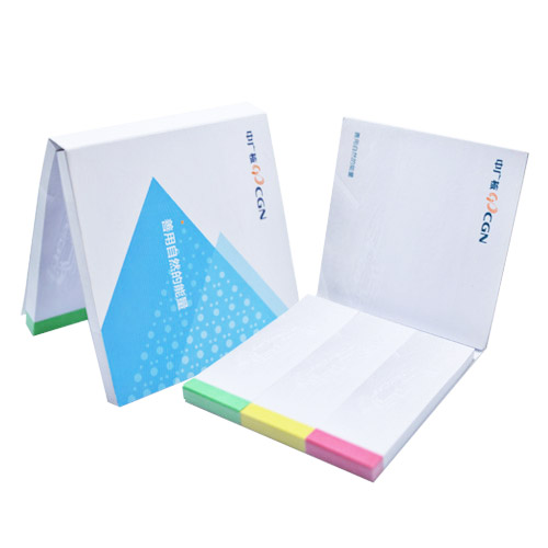 Softcover notepad set with coloured post-it sheets