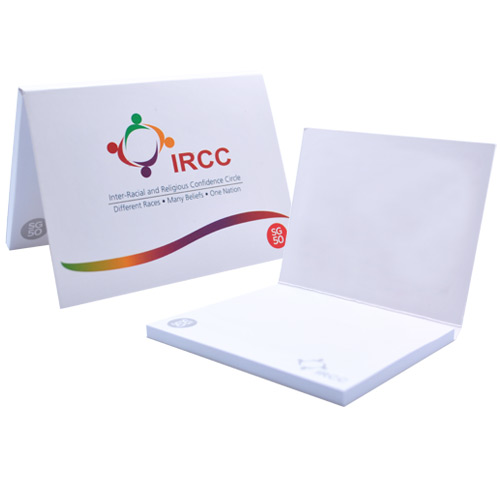 Softcover notepad set with post-it sheets