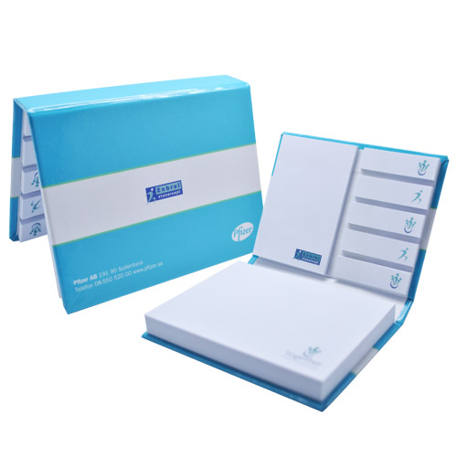 Hardcover sticky note set series with colour tabs and post-it sheets