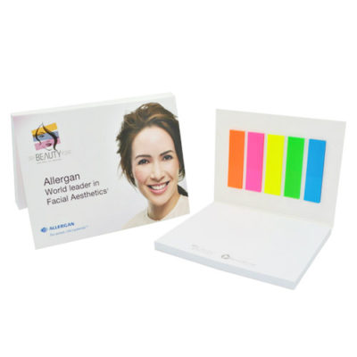 Softcover notepad set with coloured tabs and post-it sheets