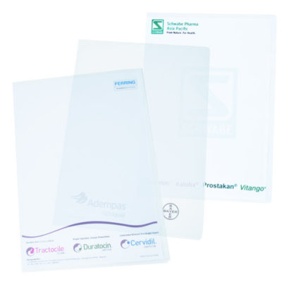 clear plastic folder to promote brand
