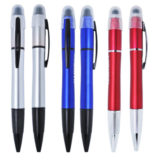 Multi functional LIGHT UP pen with stylus