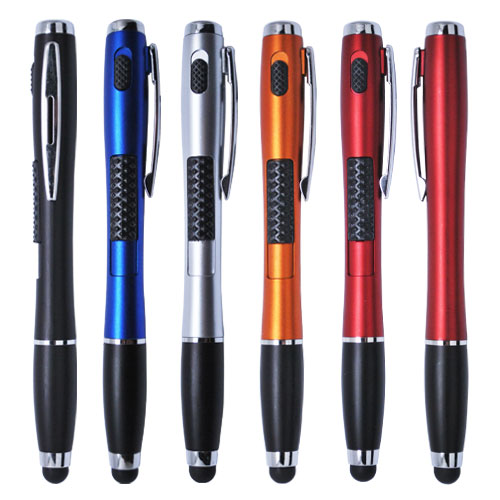 Multi functional pen with stylus and LED