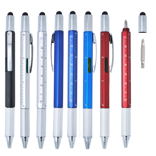 Tool pen with stylus and dual screw driver heads and ruler with spirit level