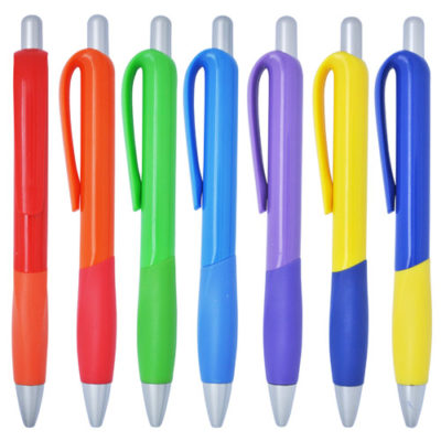 plastic pen with customizable coloured barrel and grip